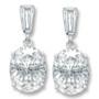 Bijou Baguette Top with Oval Drop Cubic Zirconia Earrings