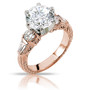 Felicity Round with Rounds & Baguettes CZ Estate Solitaire Ring