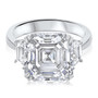 April Asscher with Trapezoids CZ Engagement Ring