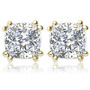 Cushion Cut CZ Stud Earrings with Double Prongs