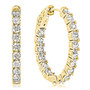 Hampton Vault Lock Inside Out CZ Rounds Oval Shaped Hoops, 3.06 Carats Total