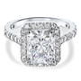 Brenina Starburst Emerald Cut CZ Halo Solitaire Engagement Ring