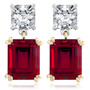 Brasilia Asscher Top Emerald Cut Drop Earrings
