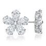 Mimosa CZ Pear Cut Flower Petals Cluster Earrings