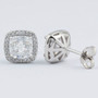 Christine CZ Cushion Cut Halo Stud Earrings