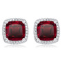 Christine Cushion Halo Lab Ruby Stud Earrings