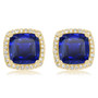 Christine Cushion Lab Sapphire Halo CZ Stud Earrings