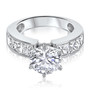 Large Quinn Round w/ Channel Princess Sides CZ Solitaire Ring
