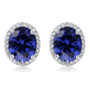Madison Oval Lab Sapphire Halo CZ Stud Earrings