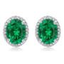 Madison Oval Simulated Green Emerald Halo CZ Stud Earrings