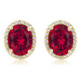 Madison Oval Lab Created Ruby Halo CZ Stud Earrings