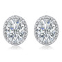 Madison Oval Cubic Zirconia Halo CZ Stud Earrings