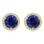 Margarita Halo Round Lab Sapphire CZ Stud Earrings