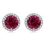 Margarita Halo Round Lab Ruby CZ Stud Earrings