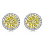 Margarita Halo Round Yellow Diamond Look CZ Stud Earrings