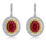 Abaco Lab Ruby Oval Double Halo Drop Earrings