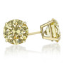 Round Yellow Canary Cubic Zirconia Stud Earrings