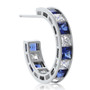Small Ronnie Sleek Channel Set Princess Cut CZ Hoops in Colors
