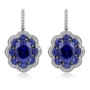 Brandy Oval with Scalloped Halo with Lab Created Sapphire Earrings