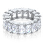 Starburst Emerald Cut Prong Set Cubic Zirconia Eternity Band