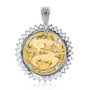 Independence Prong Set Rounds Coinframe Pendant with 1/2 OZ Coin