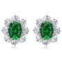 Oslo 1.5 Carat Oval with CZ Ovals Cluster Earrings with Non Pierced Clips