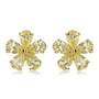 Yellow diamond look cubic zirconia 1/2 carat each pear stones flower shaped earrings.