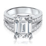 Athens Cubic Zirconia Emerald Cut with Pave Split Band Ring