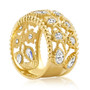 Barcelona Pears with Rounds Leafy Design CZ Wide Band Ring