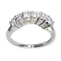 Gently Curved Round Cubic Zirconia Anniversary Band