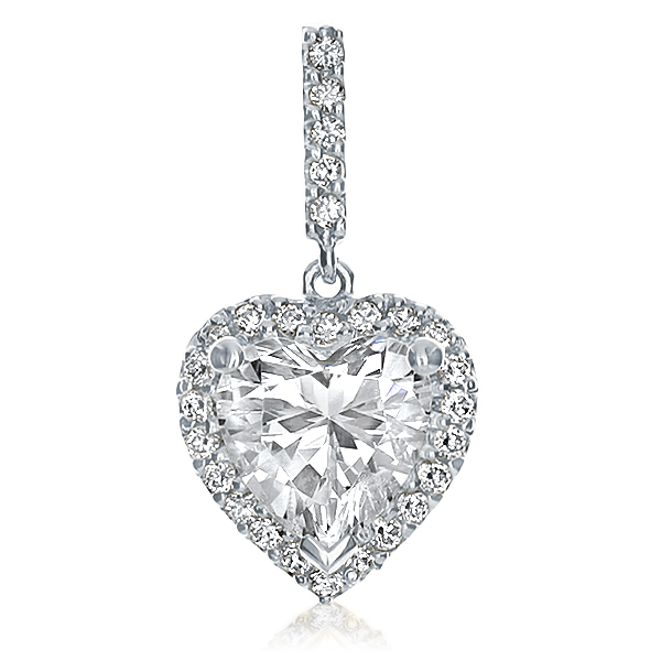 Coralie Heart with Pave Halo CZ Pendant, 2.14 Ct TW