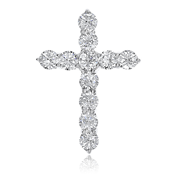 Designer Inspired Round CZ Cross Pendant, 1.25 Ct TW