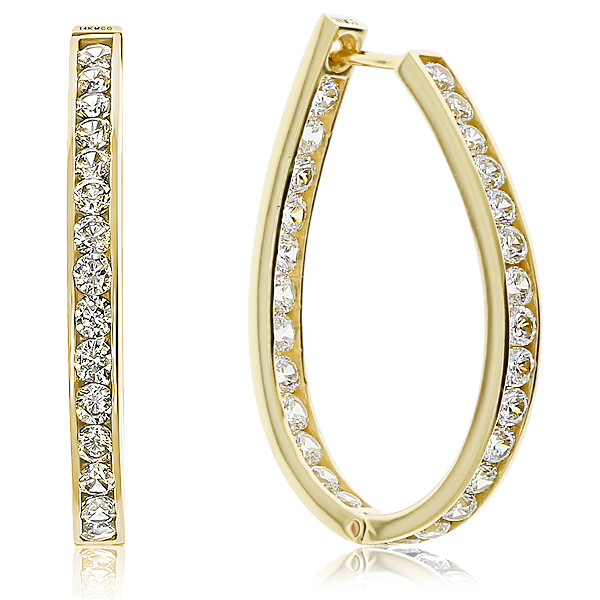 Monica CZ Rounds Double Front Facing Oval Hoop Earrings, 3.0 Ct TW