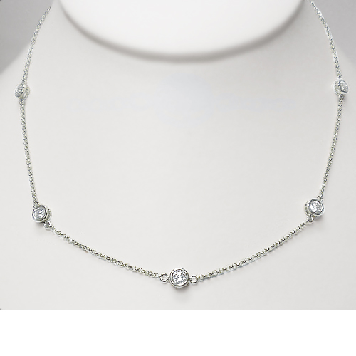 Mystique By The Yard CZ Bezel Rounds Station Necklace