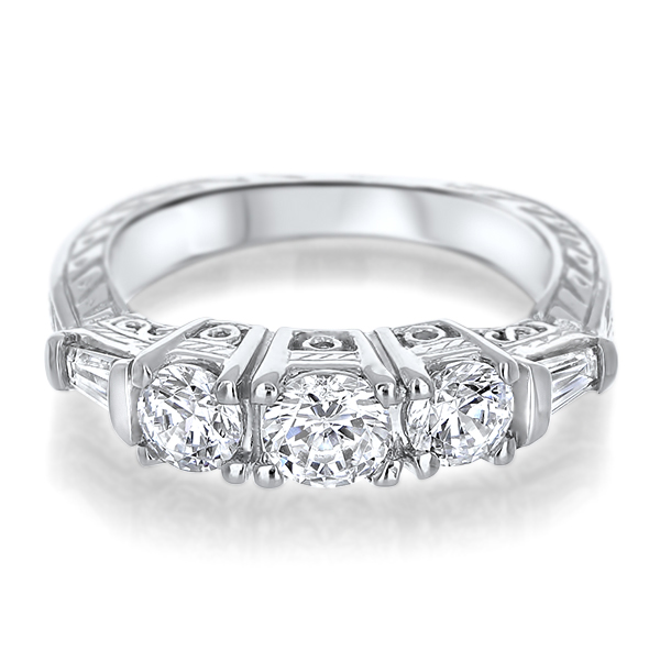 Baguette Wedding Band.Felicity Rounds With Baguettes Cz Estate Style Wedding Band