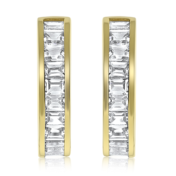 Elle Channel Baguette CZ Huggie Hoop Earrings, 1.32 Carats Total