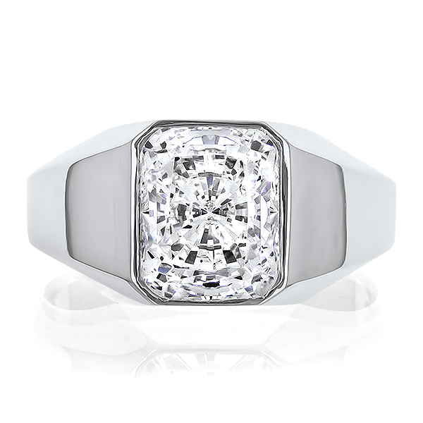 William Bezel Set Emerald Cut Cubic Zirconia Men's Ring