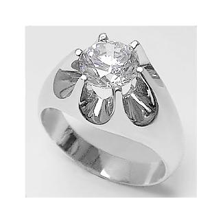 Round Cubic Zirconia Gypsy Claw Men's Ring