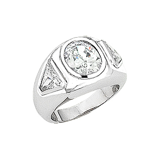 Bryce Cubic Zirconia Oval with Trillions Men's Ring