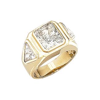 Patrick Emerald Cut with Trillions CZ Men's Ring