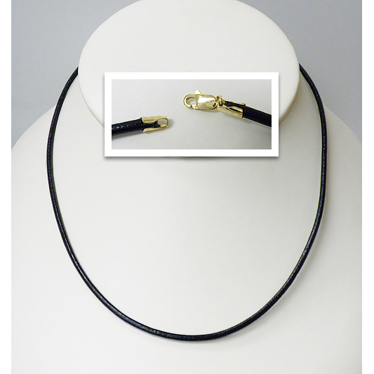 Raven Black Leather Neck Cord with 14K Gold Clasp, 2.0mm