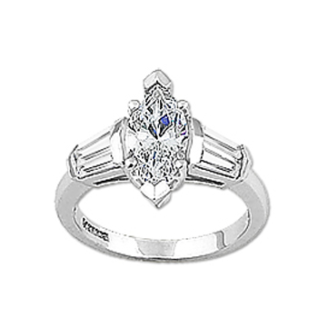2.0 Marquise Cubic Zirconia Double Baguette Solitaire Ring