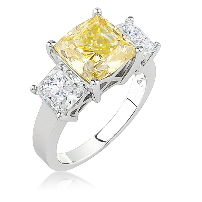 Berkley Cushion Cut With Princess Sides Three Stone Cz Ring 6 0 Ct Tw