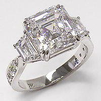 Avalee 5.5 Carat Asscher with Trapezoids CZ Engagement Ring