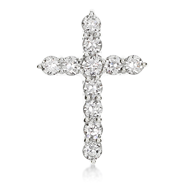 Cubic Zirconia Rounds Designer Inspired Cross Pendant, 0.5 Carats Total