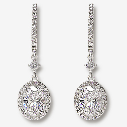 Elyse Huggie Top 1.0 Carat Oval Drop Halo Earrings, 2.5 Ct TW