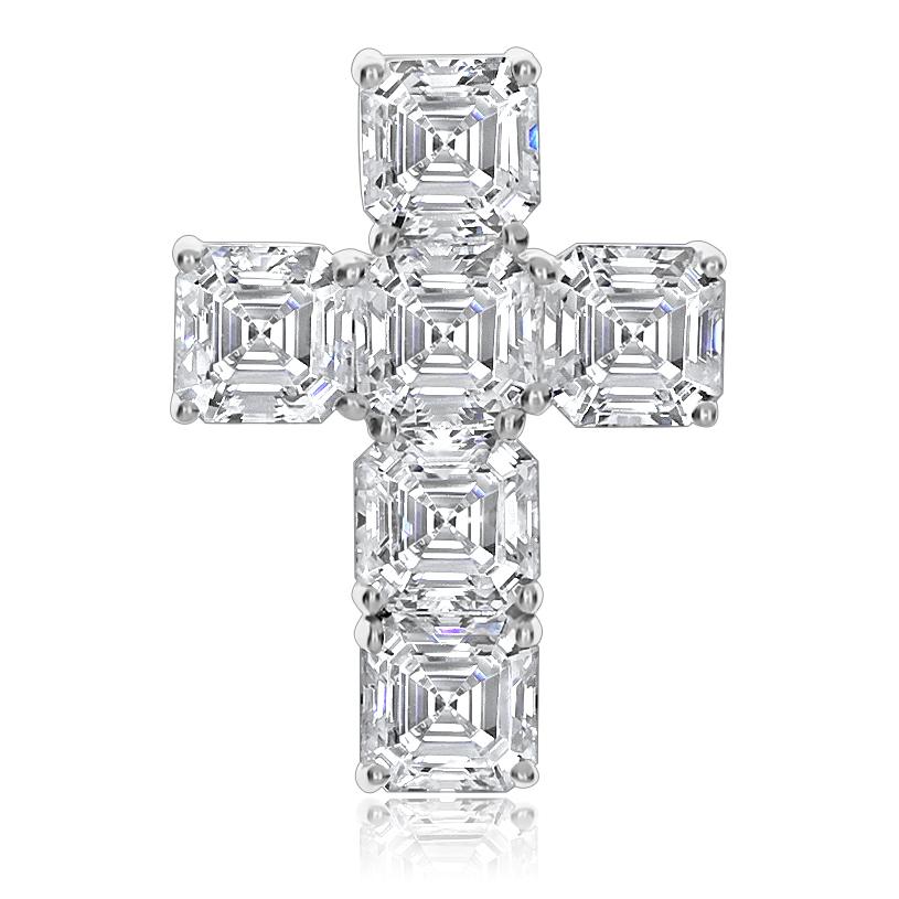 Crissy Cubic Zirconia Asscher Cross Pendant, 4.5 Ct TW