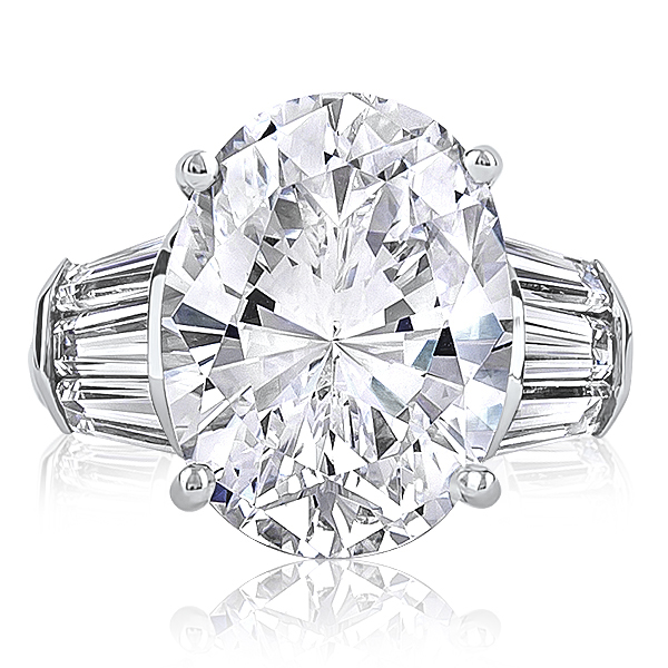 9.0 Ct Oval Cubic Zirconia Triple Baguette Solitaire Ring