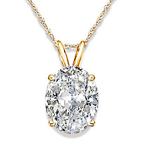 Oval Cubic Zirconia Classic Solitaire Pendant