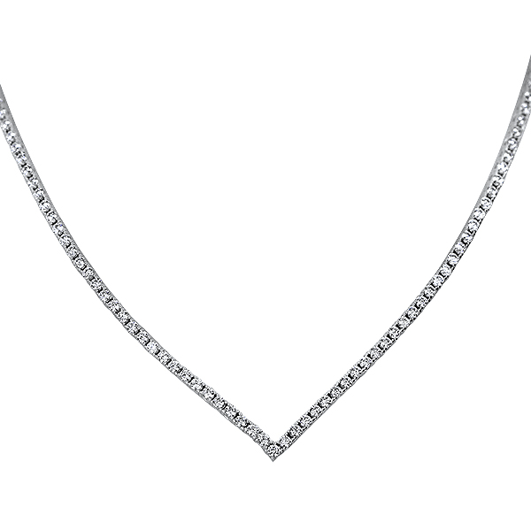 "Vivienne Pointed ""V"" Cubic Zirconia Tennis Necklace, 5.0 Ct TW"